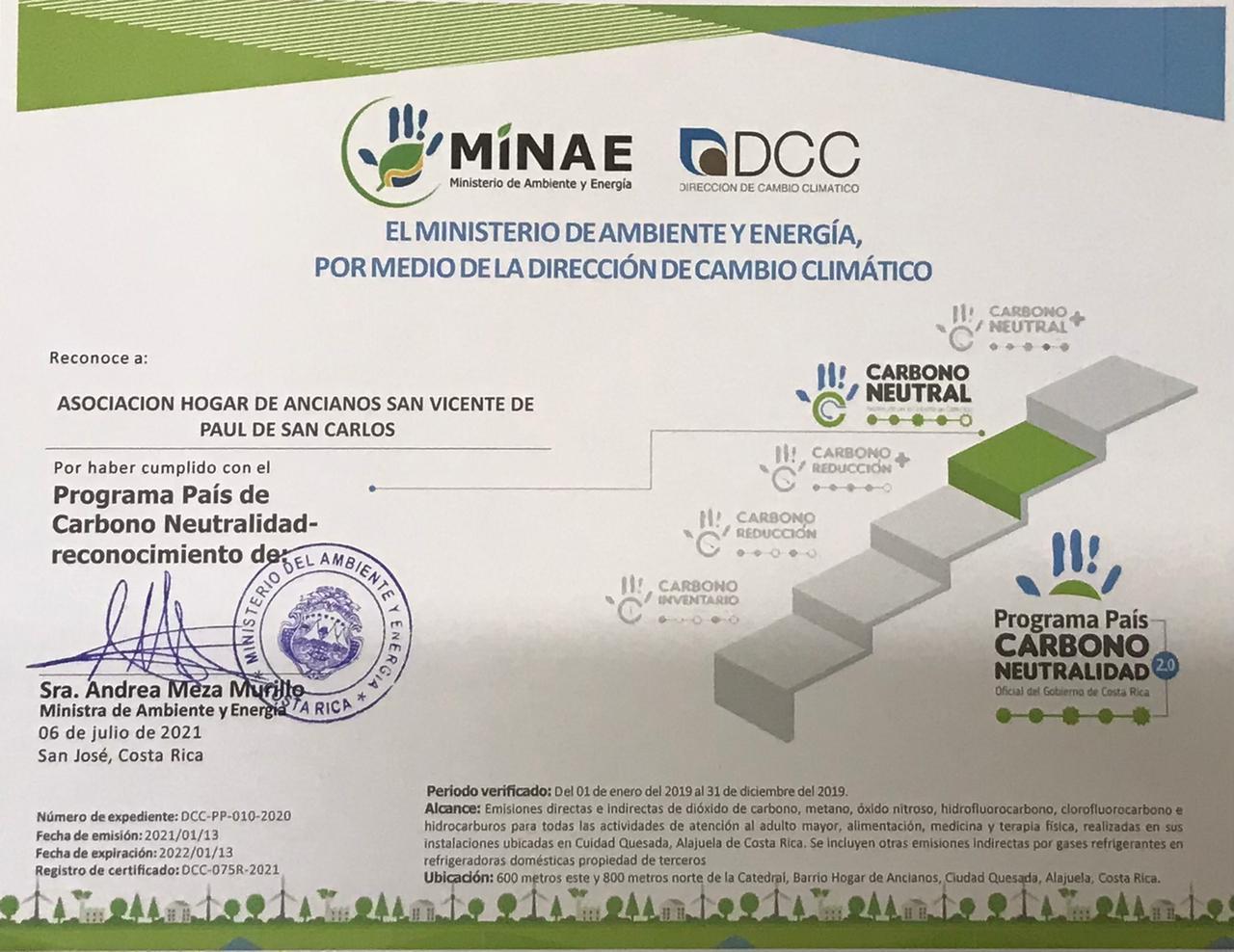Por 2° año consecutivo, el Hogar de Ancianos de Ciudad Quesada obtiene la certificación Carbono Neutralidad