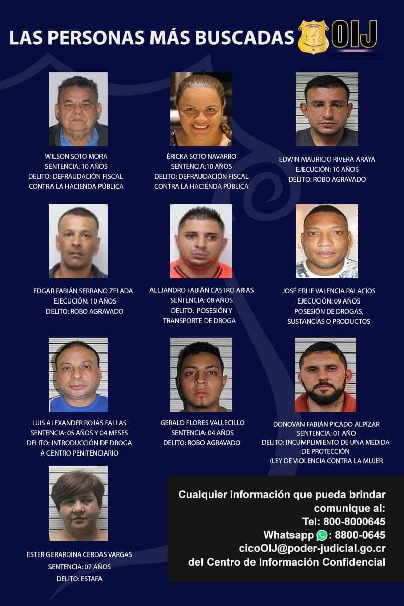 8 hombres y dos mujeres son los más buscados del país.