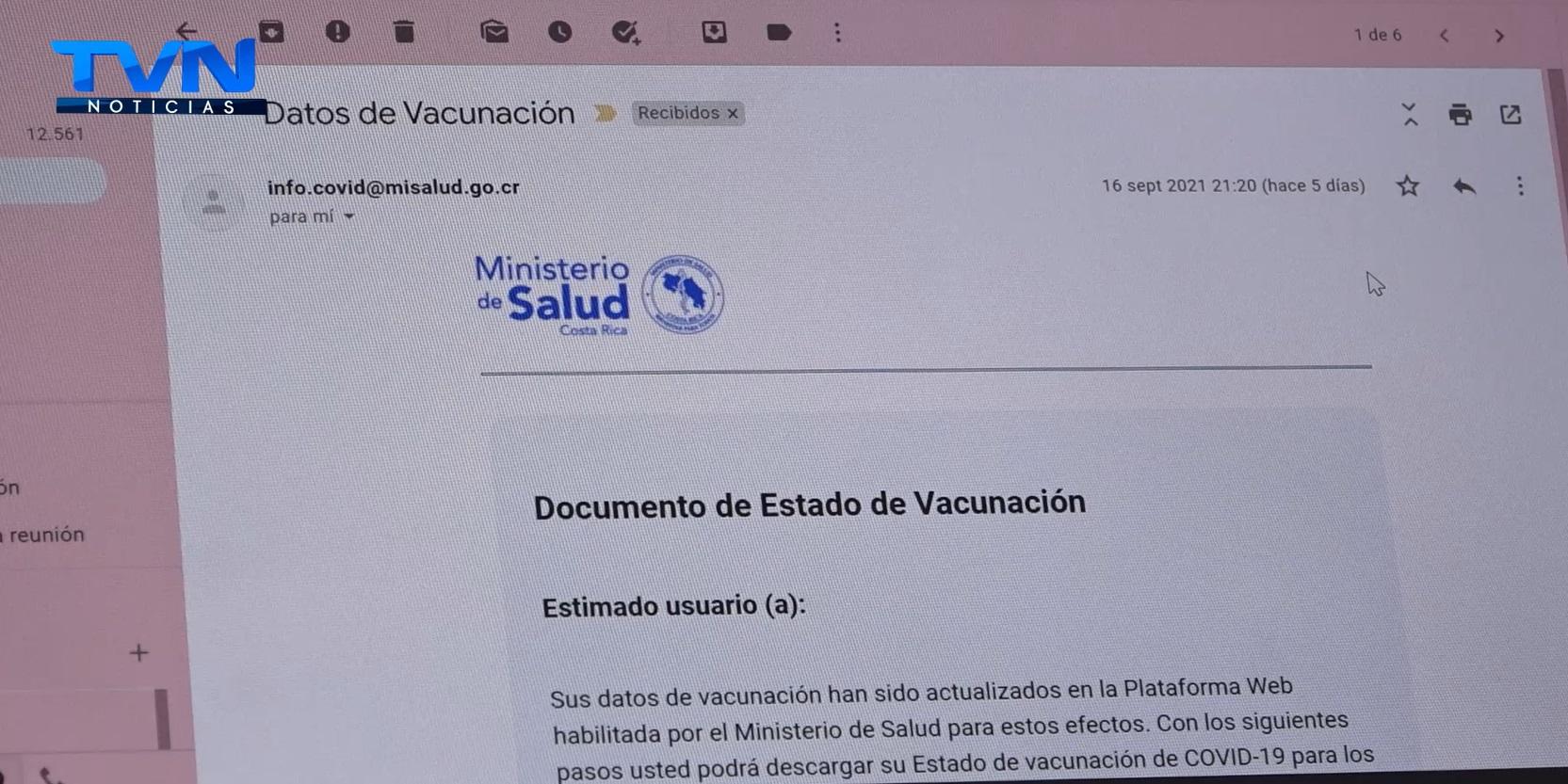 El correo sobre certificado de vacunación no es una estafa